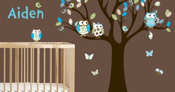 Vinyl Wall Decal Stickers Owl Tree Set Nursery Boy Baby. $99.00, via