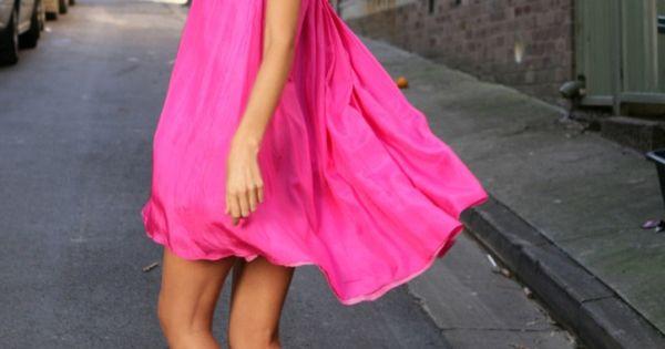 neon pink flowing dress