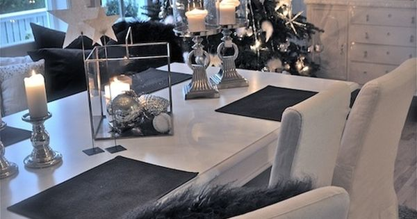 dekoration weihnachten esszimmer wei grau silber ana pinterest grau weihnachtsdekoration. Black Bedroom Furniture Sets. Home Design Ideas