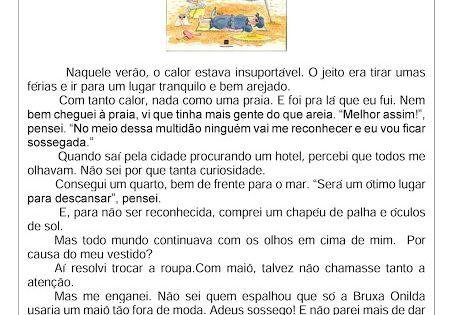 Leitura E Interpretacao As Ferias Da Bruxa Onilda Professora