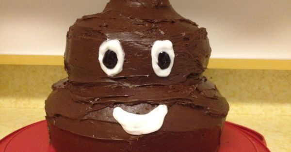 Poop Head Emoticon Cake Two Chocolate Bundt Cakes Top