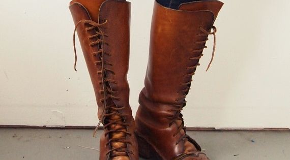 Boots Vintage Knee High Leather Laceup Size 75 by TheLABB on Etsy ...