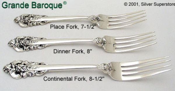 """Grande Baroque by Wallace Sterling Silver Regular Fork 7 1//2/"""" New"""