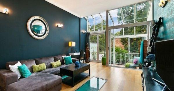 Deep teal wall color modern living room decor ideas brown for Interior design ideas teal living room