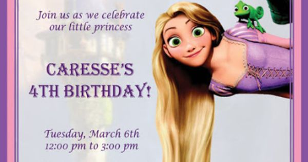 Rapunzel Birthday Party Invitation - Birthday Invitation ...