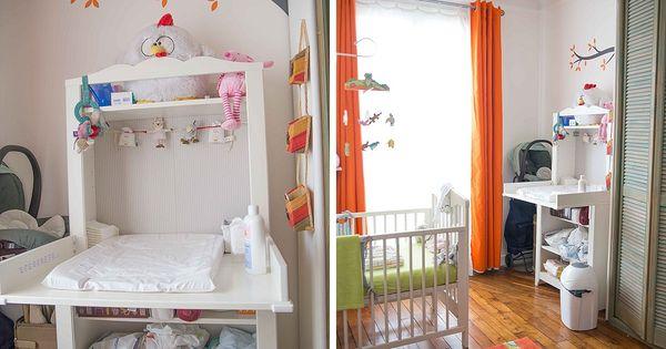 Chambre de b b blanche orange et verte coin change avec stickers arbre et koala d co - Stickers koala chambre bebe ...