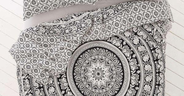 Black And White Bohemian Tapestry Elephant Mandala Indian