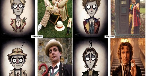All the Doctors in Tim Burton style. Eleven is slightly terrifying.
