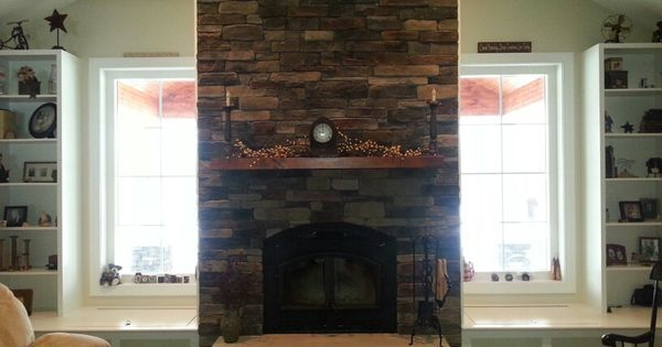 Choosing Stone For Transitional Family Room Two Story Fireplace