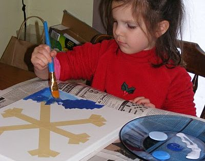 Snowflake art - just remove the tape when the paint dries! cute