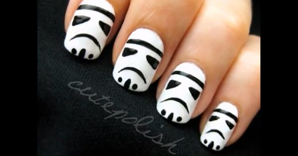 "Stormtrooper nails. Site has a YouTube video with ""Darth Vader's"" voice teaching"