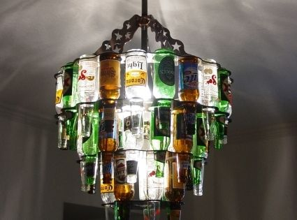 beer bottle chandelier. love this for a bar room or game room,