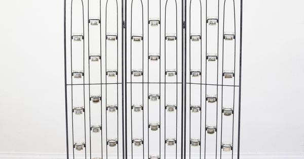 This Room Divider Is Featured In A Bent Metal With A Black Finish This Screen Is In Great Condition Wit Outdoor Candle Holders Metal Room Divider Room Divider