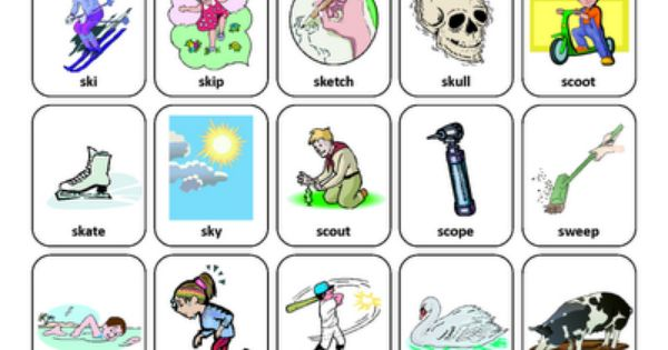SK and SW Blends Speech Therapy Articulation Cards Front
