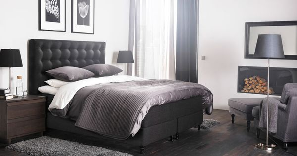 ein gro es schlafzimmer u a mit vallavik boxspringbett mit bezug tuss y in grau mit g spa. Black Bedroom Furniture Sets. Home Design Ideas