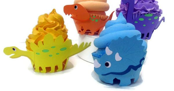Dinosaur Cupcake Wrappers - set of 12 by cakeadoodledoo