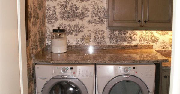 Toile Laundry Room Ideas: Decorative Shelf Above Clothes Rack, Laundry Supplies In