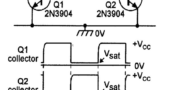 circuit and waveforms of a basic 1 khz astable