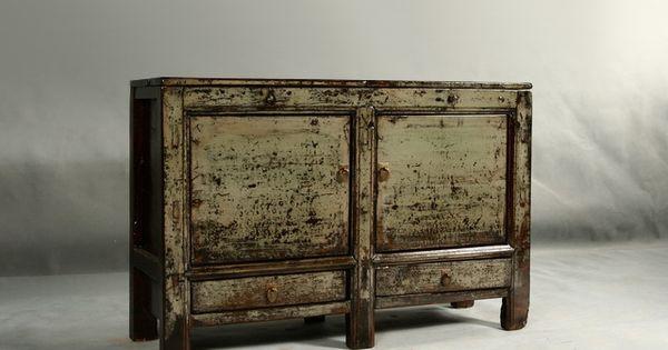Buffet ancien meuble chinois grain en orme laqu de la for Meuble antique chinois