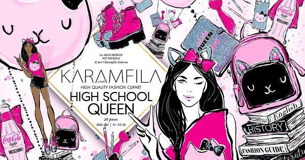Back to school clipart – cute teen girl fashion illustration college student school clip art set