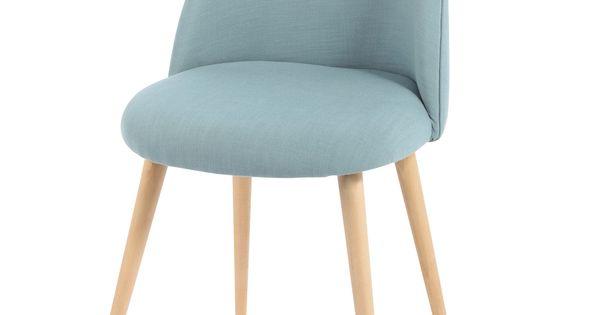 Stuhl im vintage stil aus stoff und massiver birke blau for Chaise mauricette