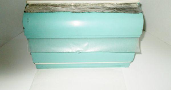 Vintage Aqua Paper Towel Foil Wax Paper Dispenser Wax