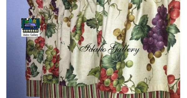Vineyard Tuscany Grape Double Layer Valance Curtain