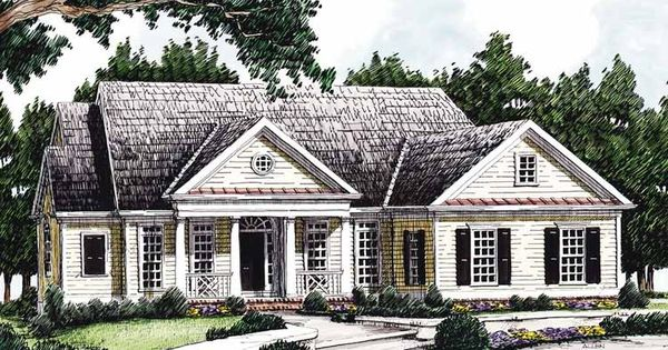 Greek revival house plan with 2072 square feet and 3 for One story greek revival house plans