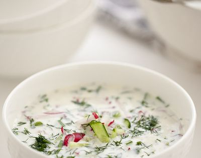Buttermilk Gazpacho with Cucumber and Radish | Soup! | Pinterest ...