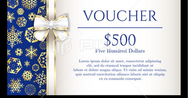 Christmas Voucher With Golden Snowflakes On Blue Christmas 広告