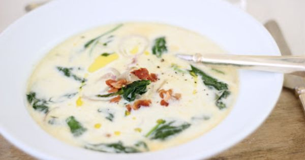 Cream of Asparagus and Spinach Soup with Pancetta