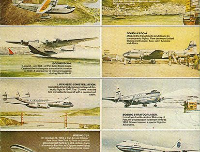 Pan Am Postcard With Visual Summary Of Their First 50