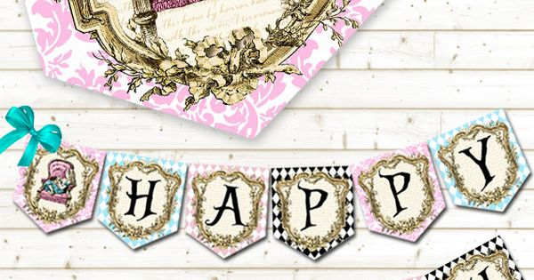 Alice In Wonderland Party Banner Printable Party Banner