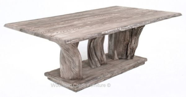 live edge table with driftwood tree base by woodland creek furniture in custom made sizes. Black Bedroom Furniture Sets. Home Design Ideas
