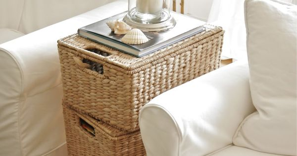 three stacked lidded baskets ~ instant end table ~ what a good