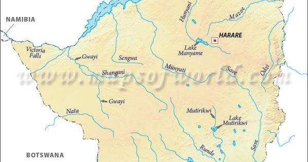 Zimbabwe River Map Map River Zimbabwe