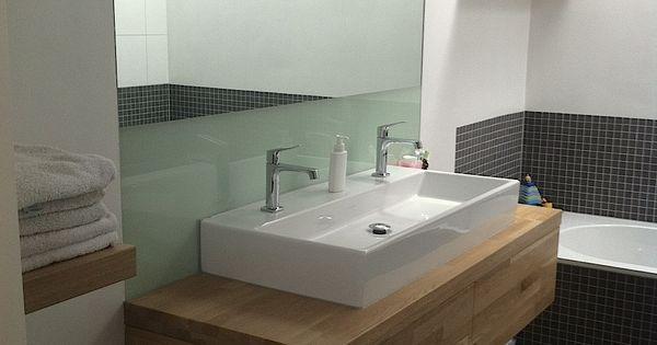 Badkamer wastafel grijs tegels hout modern badkamer pinterest badkamer wastafel - Badkamer meubel model ...