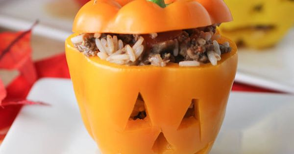 Halloween Stuffed Peppers - how cute would this be for dinner on