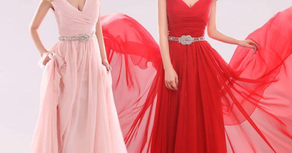 A-LINE V-NECK WITH SHORT SLEEVE CHIFFON BRIDESMAID DRESS
