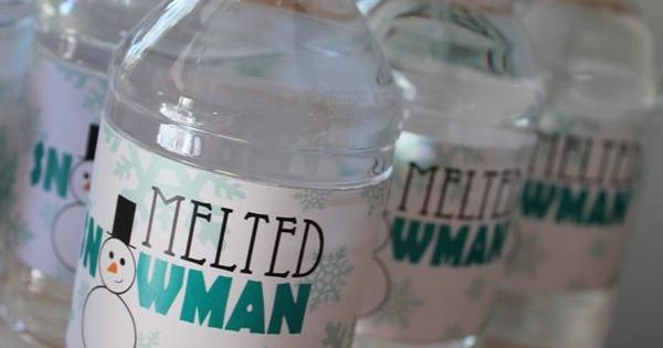 "Cute idea for a Christmas party! ""Melted Snowman"" water bottle labels."