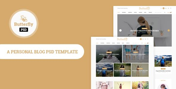 Butterfly Personal Blog Psd Template Personal Psd Templates Blogging Ghost Handy Minimal Modern Personal Personal Blog Simple Stories Travel T Mode
