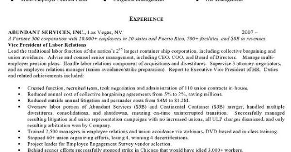 Resume Sample 4 u2013 Attorney resume u2013 Labor Relations Executive - m and a attorney sample resume