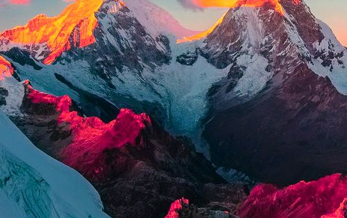 Sunrise over Llanganuco Valley, Cordillera Blanca, Peru travel destination