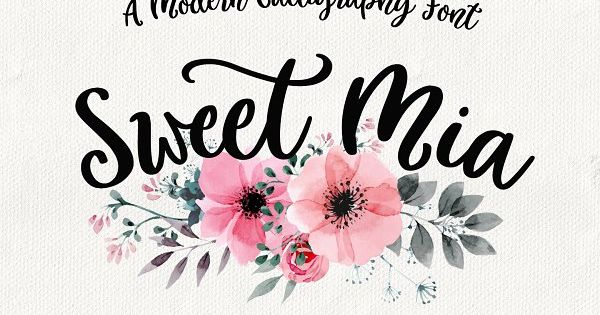 Sweet Mia is a playful modern calligraphy font with a dancing baseline