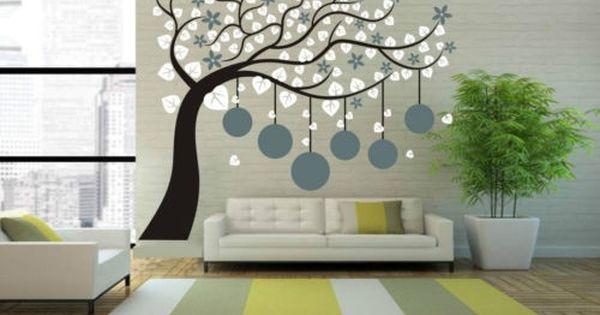 Goedkope grote fotolijst tree muursticker interieur vinyl decal plant muur decor art - Ontwerp muurschildering ...