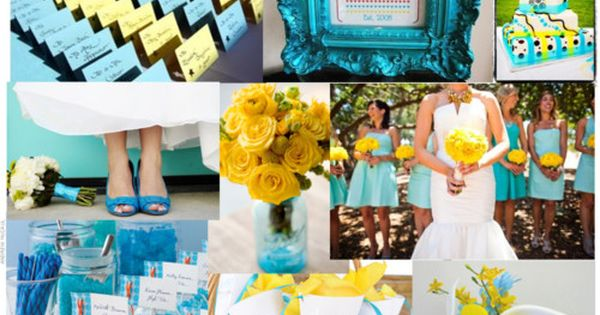 royal and aqua blue wedding | Turquoise and Yellow Spring Wedding by