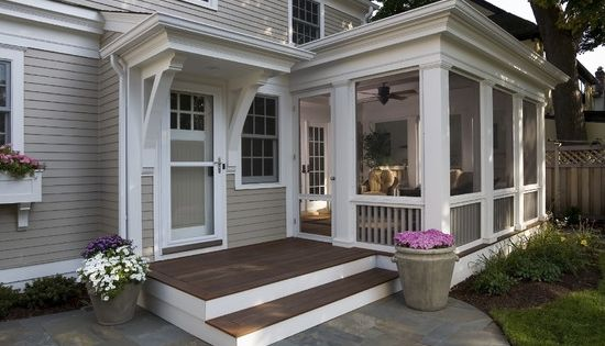 I really like this back door screened porch! Maybe if we build....Back