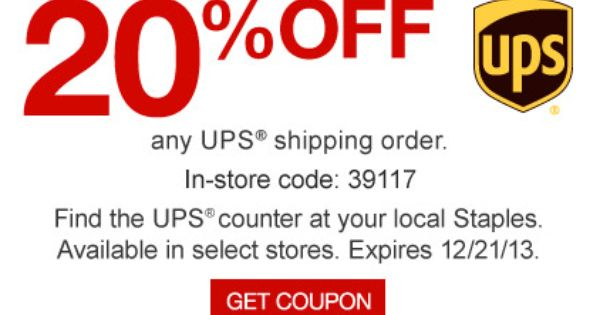 Staples Coupon For 20 Off Any Ups Shipping Order Ups
