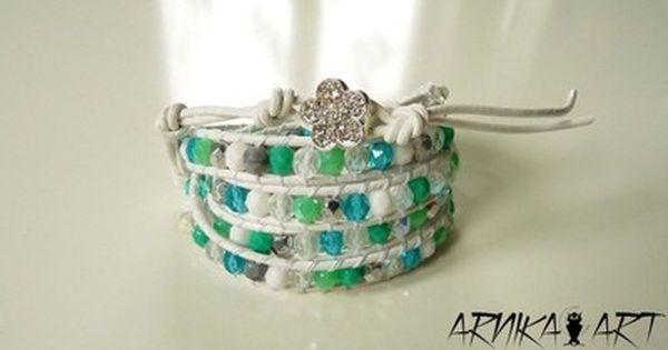 Bransoletka Oplatana Wrap Biel Mieta I Turkus 6194956835 Oficjalne Archiwum Allegro Wrap Bracelet Bracelets Jewelry