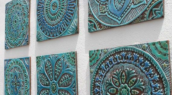 Mandala Garden Decor 5 Made From Ceramic These Wall Hangings Are Carved In Deep Relief Using The Highest Q Outdoor Wall Art Tile Wall Art Ceramic Wall Decor